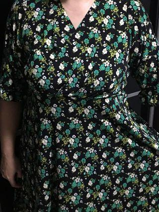Plus size floral kimono design dress