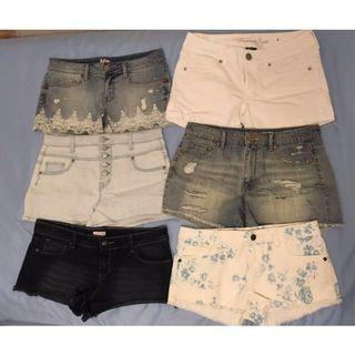 Denim Shorts (Distressed, High-Rise, Low-Rise, White, Blue, Jean)