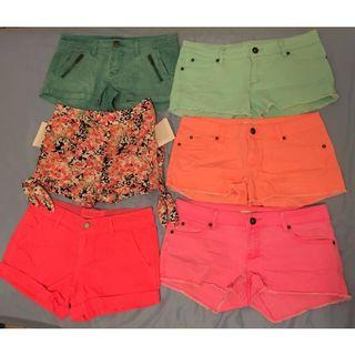 Neon/Floral/Colourful Shorts (Aqua green, orange, pink, coral)