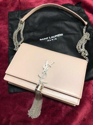 New: YSL BLUSH PINK WALLET ON CHAIN WOC WITH TASSEL