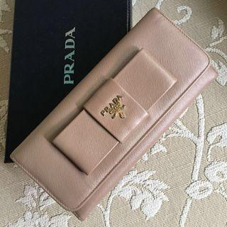 Authentic Prada Saffiano Bow Long Wallet in Cammeo