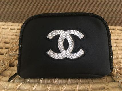 Ready stock: (Small) Chanel Glitter logo complimentary toiletries pouch