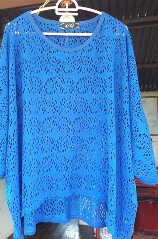 Plus size blue Lace Top