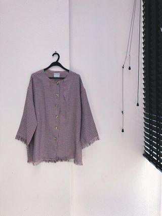 FINAL SALE   ShopAtVelvet Houndstooth Oversized Frill Shirt
