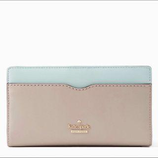 Kate Spade Philips Road Stacy Long Wallet with tags, care card and wrapping paper Color: Bone grey/ Misty mint