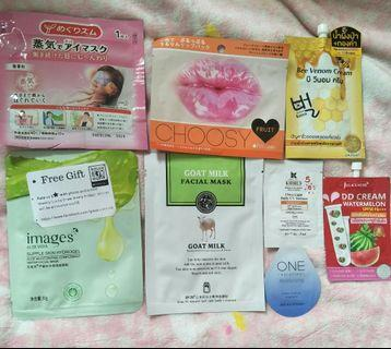 🆓📦Assorted Face Masks, lip mask, sunscreen and 1 pair of eye sleeping mask