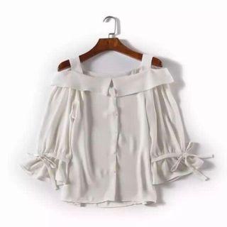 純白色露肩優雅氣質雪仿女神衫