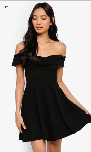 MISGUIDED Wrap Bardot Skater Dress