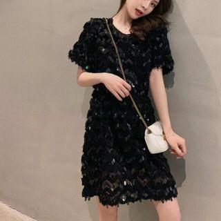 韓系亮片蕾絲波浪紋洋裝