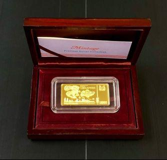 Singapore $1000 bird series Gold ingot 62.2gm.