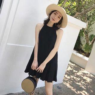 Candy w❤️實拍❤️ 波希米亞性感削肩黑色短洋裝