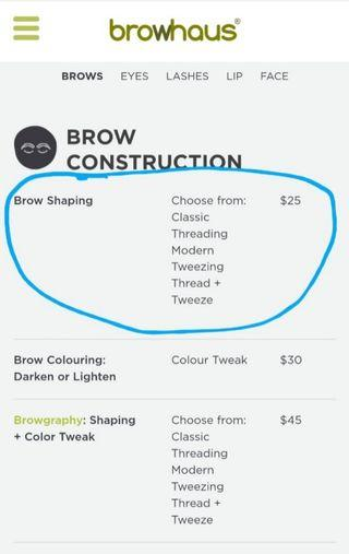 $13-$18! BROWHAUS Brow Shaping Promo (Thread & Tweeze)
