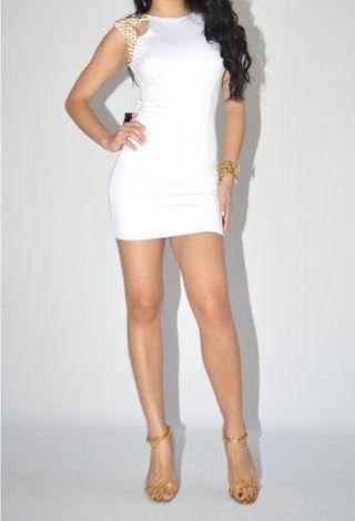 White mini dress w/ gold studs