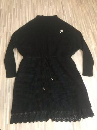 🚚 Black thick woolen dress (free size)