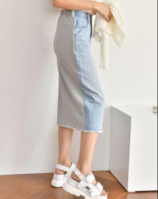 🚚 韓國直購拼接式磨白牛仔裙