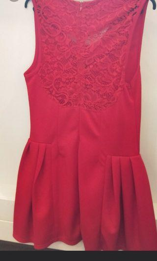 Sexy Back Red Dress with Lace