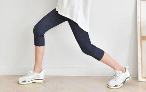 🚚 韓國牛仔布紋彈力顯瘦七分褲、內搭褲