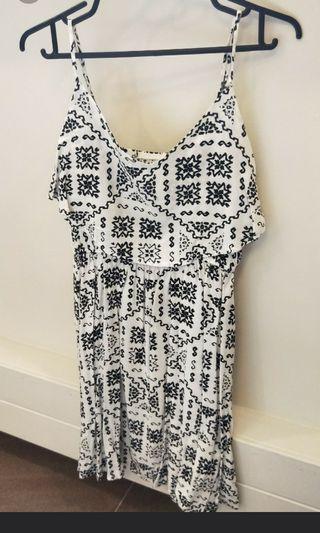 White Dress With Black Print