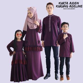 FAMILY SET KURTA AIDEN & ADELINE KURUNG - MULBERRY