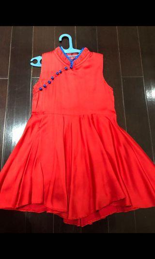 Preloved satin dress cheongsam size 4-6