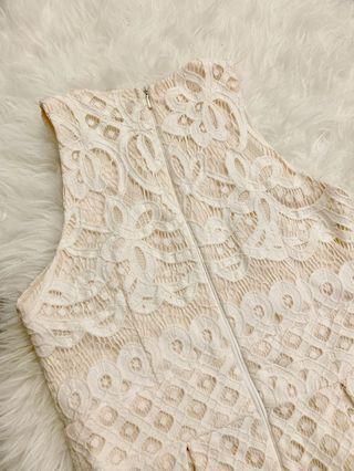 ‼️Cream Lace Crochet Skater Dress