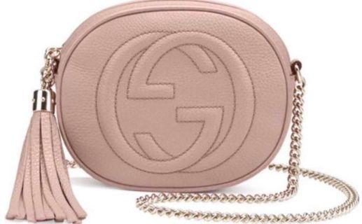 Gucci soho metallic pink mini bag