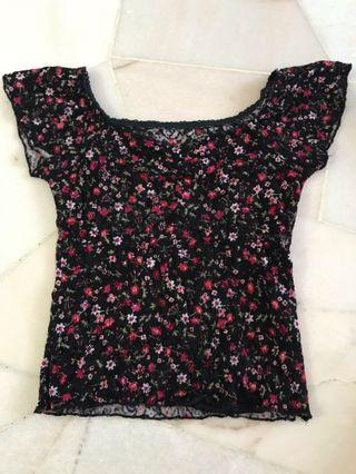 Floral lace crop top