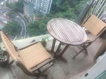Solid Wood & Rattan table & chair set