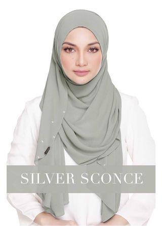Naelofar Hijab Lady Warda Shawl in Silver Sconce