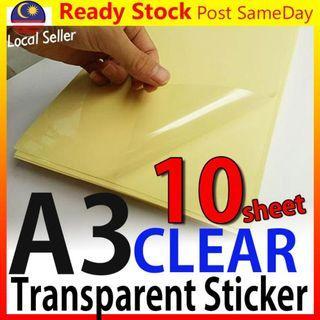 A3 Clear Transparent Film Sticker Paper for Laser Printer Kertas Pelek