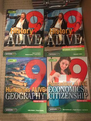 Assortment of history and geography textbooks