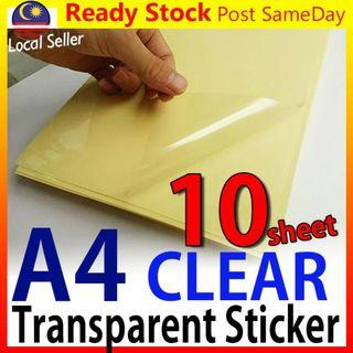 A4 Clear Transparent Film Sticker Paper for Laser Printer Kertas Pelek