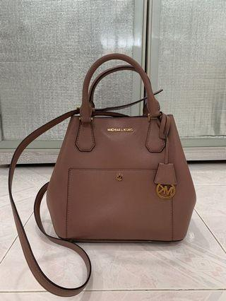 New Michael Kors Greenwich Two-Tone Saffiano Leather Bucket Bag