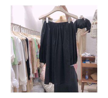 韓國一字領平口洋裝