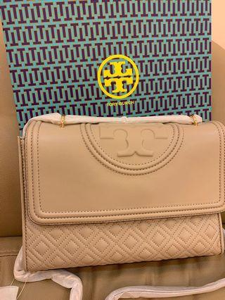Authentic Tory Burch Fleming convertibles totes sling bag in light taupe