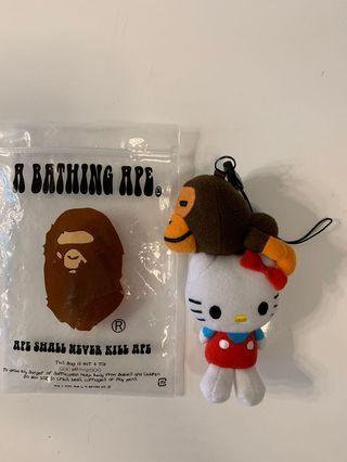 中古正版 Baby milo X Hello Kitty Sanrio A bathing Ape Bape 公仔