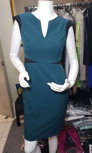 Dorothy Perkins black trimmed green Dress