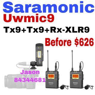 Limited offer Saramonic Tx9+Tx9+RX-XLR9 Dual-Channel Wireless Plug-On Receiver for Uwmic9 System