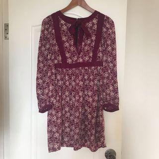 日本正品rosebullet 紫紅色復古碎花連身裙OnePiece