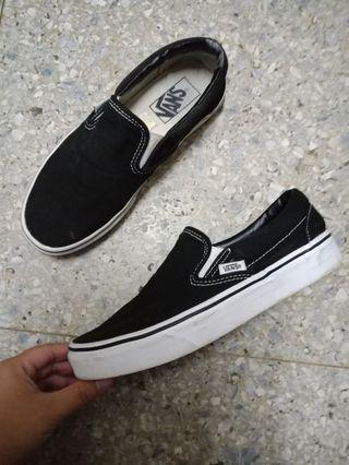 vans van's 懶人鞋 黑 23.5