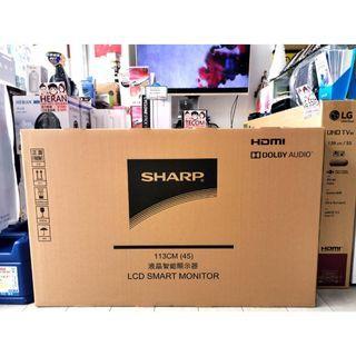 旋轉最便宜 SHARP夏普 45吋 FHD 智慧連網液晶顯示器 2T-C45AE1T 門市自取最優惠(現貨)
