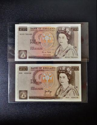 🇬🇧 1975/1988 Great Britain~Bank Of England 10 Pound Paper Banknote~2pcs Different Type Signature