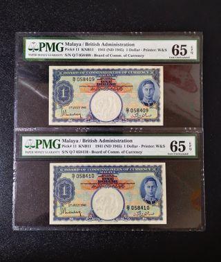 1941 Malaya BOCOC Malaya King George VI $1 Banknote~2pcs Consecutive Number Pair~PMG 65 Gem Uncirculated