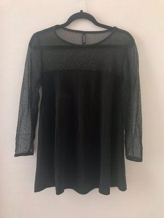 Stradivarius Black Mesh Shoulder Top