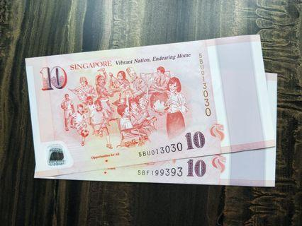 SPECIAL REPEATER SERIAL SG50 Commemorative $10 Polymer Banknotes Rare