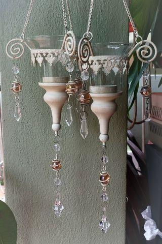 Hanging Glass Candle Holder with Crystals (Set of 2) White