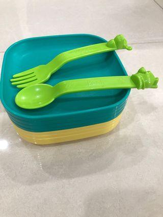 Tupperware dessert plate - with Disney fork & spoon
