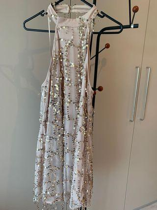 Sparkly and fabulous- sequin halter top swing dress- size 10