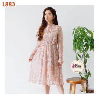 Mididress /  Dress import korea / dress wanita lengan panjang / korean brukat putih / 1883