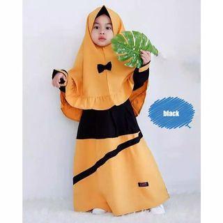 Gamis mustard hitam 5-6thn